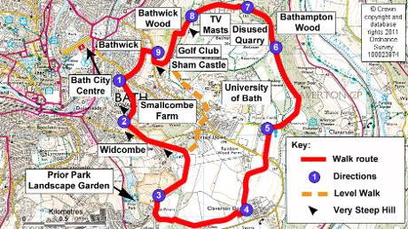 Bath Skyline Walk Map Bath Skyline | Foreigner in Bath Bath Skyline Walk Map